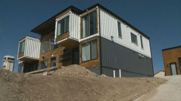 "When Regan and Libby Foster set out to build a new home in Denver, Colorado, they went to the shipping yard instead of the home improvement store. The couple's new, 4,000-square-foot home is made of nine used shipping containers that weigh 8,500 pounds and cost the Fosters $2,200 apiece. ""The Denver market is insane and we couldn't afford to buy something bigger so we decided to build,"" Libby Foster told ABC News."