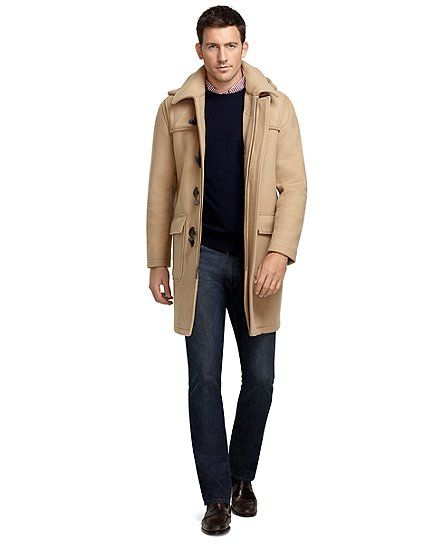 This men\u0027s duffle coat is made from double-faced wool with signature tartan  plaid on inside.