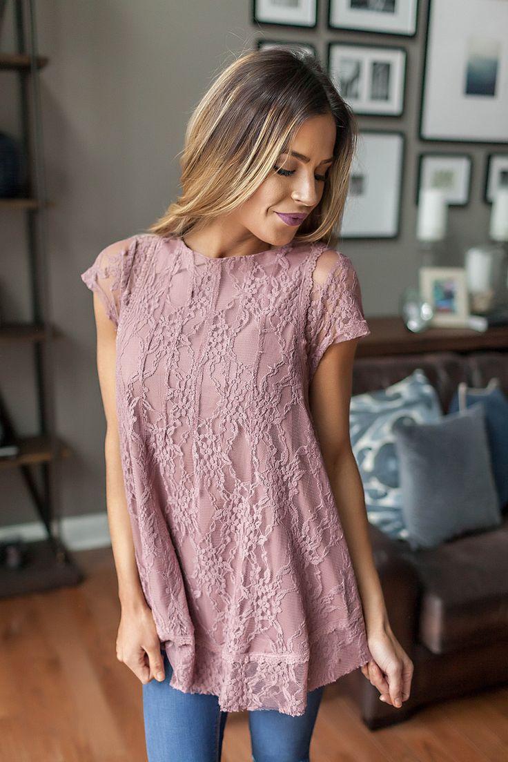 Short Sleeve Lace Swing Top- Mauve - Dottie Couture Boutique