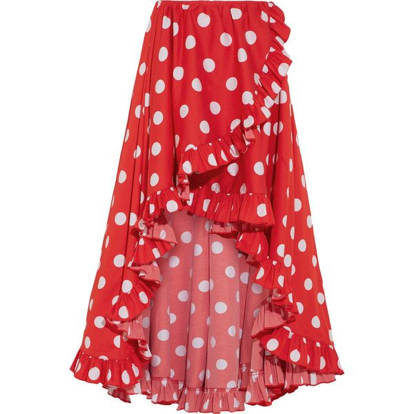 Caroline Constas Adelle asymmetric ruffled polka-dot cotton skirt ($600) ❤ liked on Polyvore featuring skirts, cotton knee length skirt, holiday skirts, red polka dot skirt, polka dot skirts and evening skirts