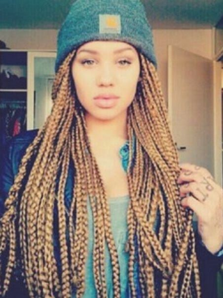 Box Braids, High Bun  Love the hair colour! Description from pinterest.com. I searched for this on bing.com/images
