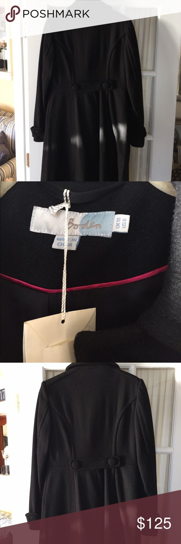 NWT Boden Ladies Long Wool Coat Sz 6/ UK Sz 10 NWT Boden Ladies Long Wool Lines Coat, Sz 6/ UK Sz 10. Color Black.  Never Worn. Perfect Winter Coat looking for a good home. Boden Jackets & Coats Trench Coats