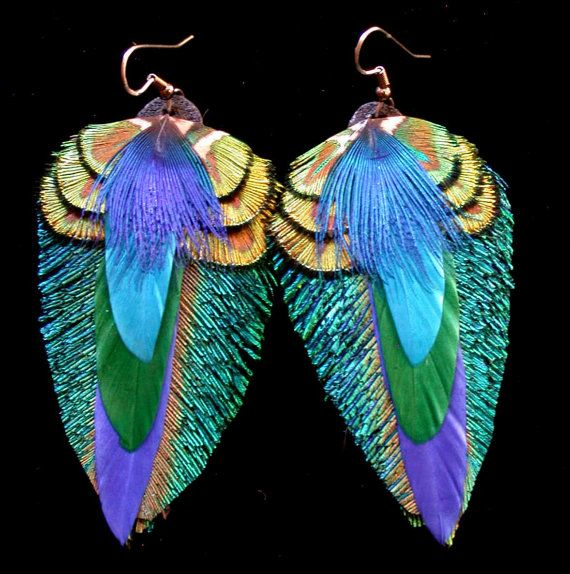 Peacock Feather Earrings Colorful feather earrings by wildspirits
