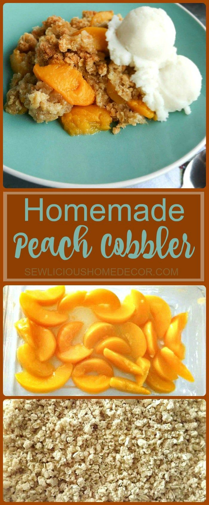 A fresh peach cobbler made from homemade ingredients, no boxed cake mix. A perfect Summertime dessert for potlucks. Also works well with canned peaches when fresh not available. Serve warm with ice cream. Homemade Peach Cobbler