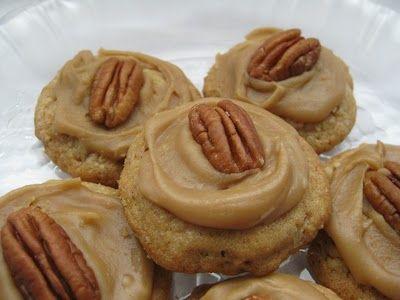 Pecan Praline Cookies with brown sugar icing