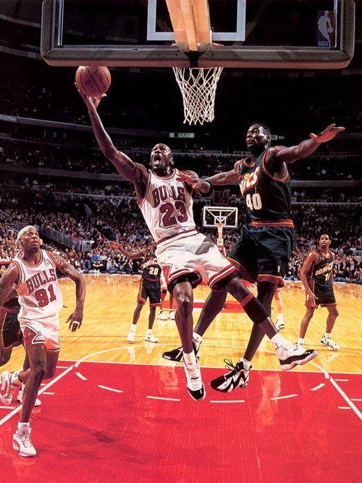 Michael Jordan Layup vs Kemp Bulls Sonics NBA Basketball Gigantic Print  POSTER  MichaelJordan  Posters  Art eee65167f
