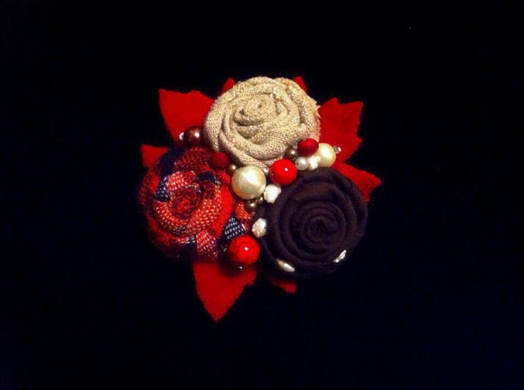 Red brooch, double two) #textil_brooch #flower_brooch #handmade