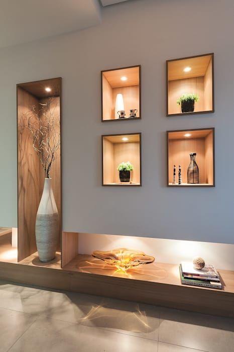 Hall de entrada, Home, Living e Gourmet: Corredores, halls e escadas modernos por Andréa Carvalho Arquitetos Associados