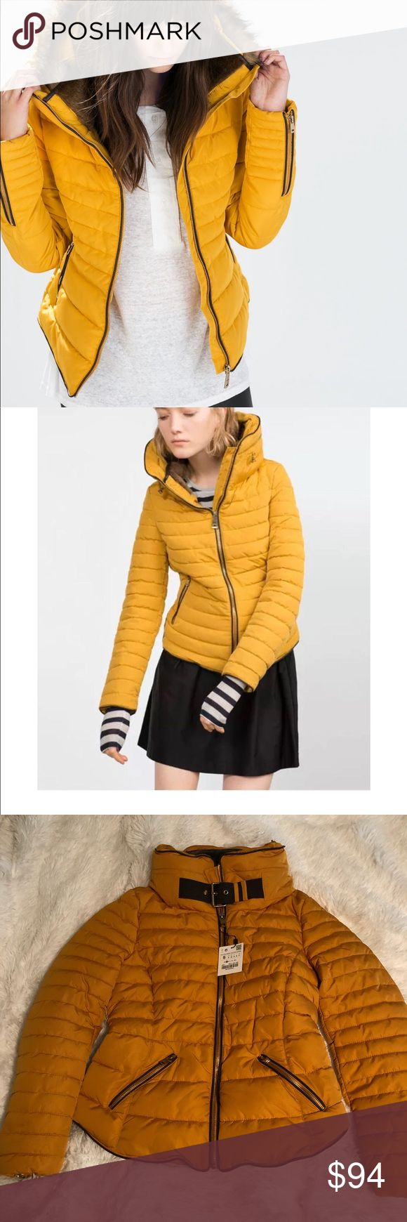 BNWT Zara Mustard Puffer Jacket Zara Basics Outerwear Mustard Puffer Jacket. Faux fur lining inside collar. Size small. Brand new with tags. 100% Authentic. Perfect for Fall and Winter! Zara Jackets & Coats Puffers