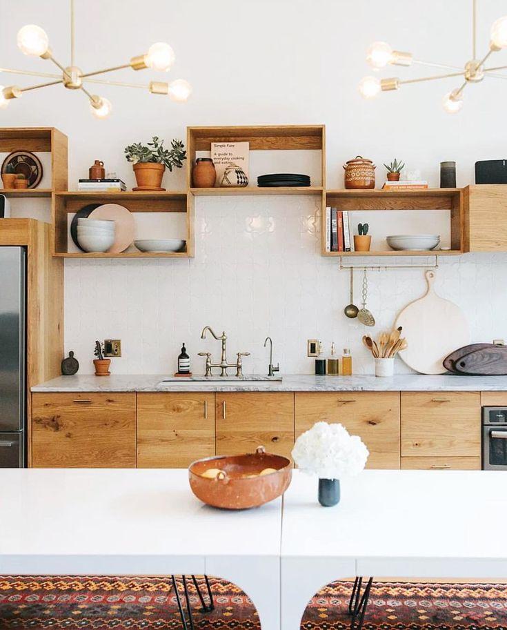kitchen | marble counter | open storage | modern kitchen | interior design | interior decor | sputnik lamp