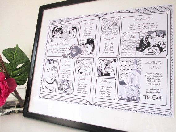 Retro Black and White Comic Wedding Seating chart by VanillaRetro, £45.00
