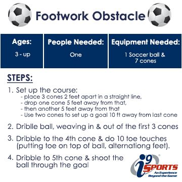 This soccer drill is for ages 3 and up to help your soccer player develop footwork skills in a fun obstacle course.  It's simple, just a ball and a couple cones. #soccer #youthsports