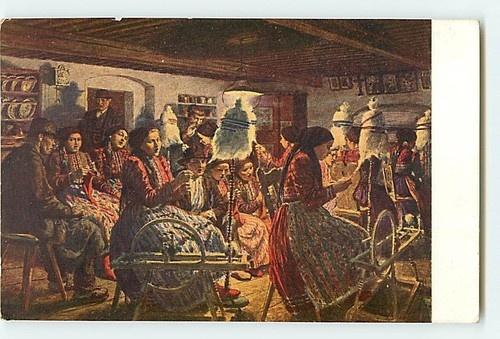 V Maly Chodske Prastky Men Women Meeting Spinning Wheels, Czech spinners c. 1910-20