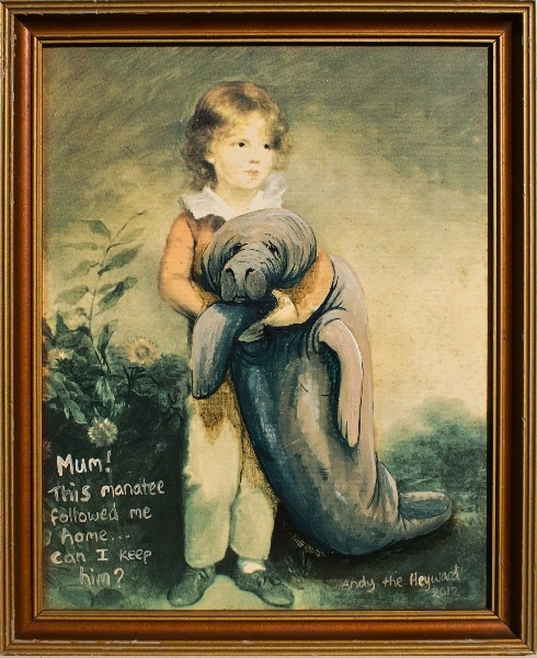 Master Simpson and his Manatee.    Mum! This manatee followed me home . . . Can I keep him?    This framed painting added to by Andy Heyward measures 260 x 320mm.