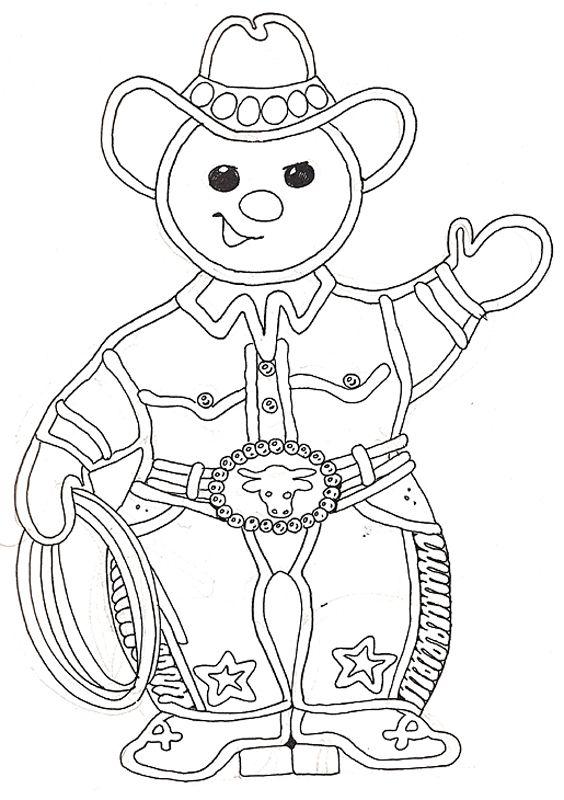 cowboy gingerbread man coloring page