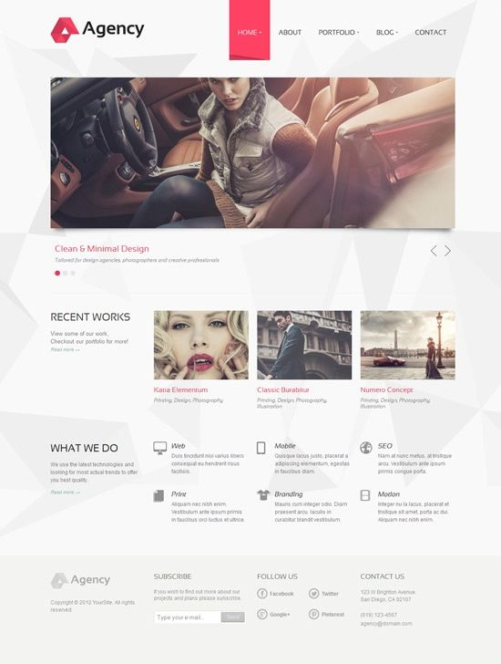 Web design site inspiration agency simple minimal red white space