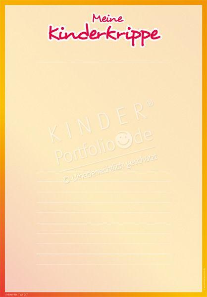 """Kindergarten Portfolio Vorlagen """"Meine Kinderkrippe"""""""