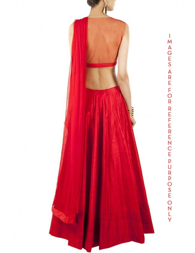 Red lehenga with sheer embroidered blouse Product Code: ZC252 Featuring a red raw silk lehenga with sheer floral embroidery and bead work blouse. It comes along with matching net dupatta. COMPOSITION: Rawsilk, net. Lining: Cotton. CARE: Dryclean only and steam iron