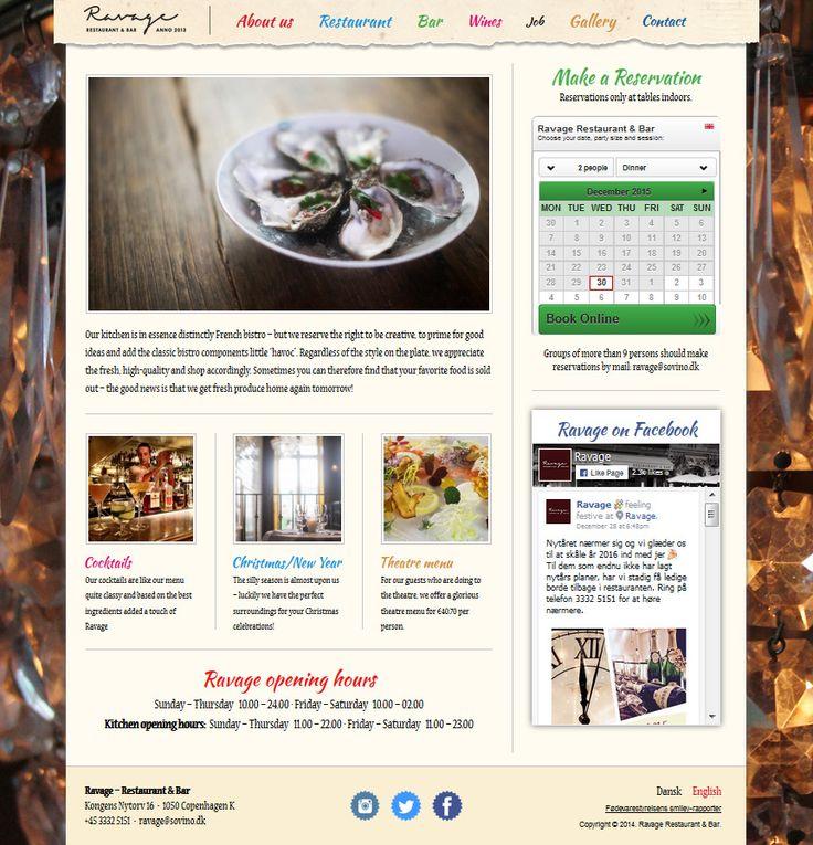 Ravage -  Restaurations website med booking-integration.