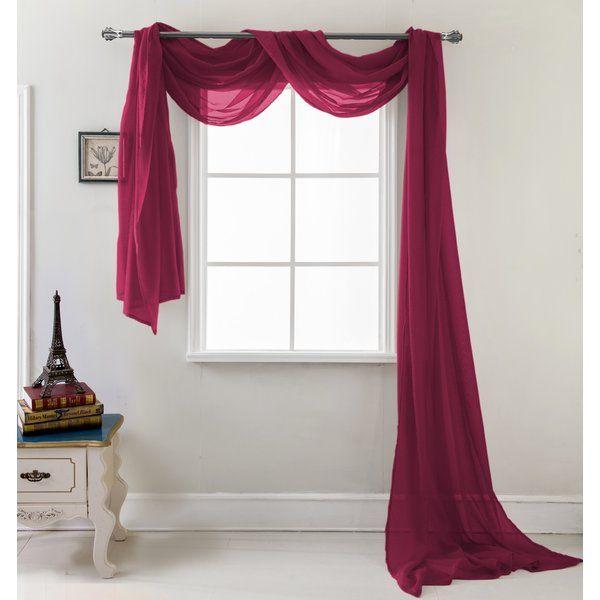 Brannon Solid Sheer Window Scarf Window Scarf Curtains Custom