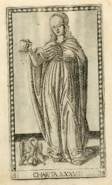 Charity, c.1465, an engraved paper card from the 'Tarocchi Cards of Mantegna' ('E series'); Charity is personified as a woman shaking coins from a purse and parting her cloak with her hand to reveal her flaming heart; at left a pelican piercing its breast to feed its young (a symbol of charity and selfless love); at lower centre 'CHARITA XXXVIII'. (British Museum)British Museum