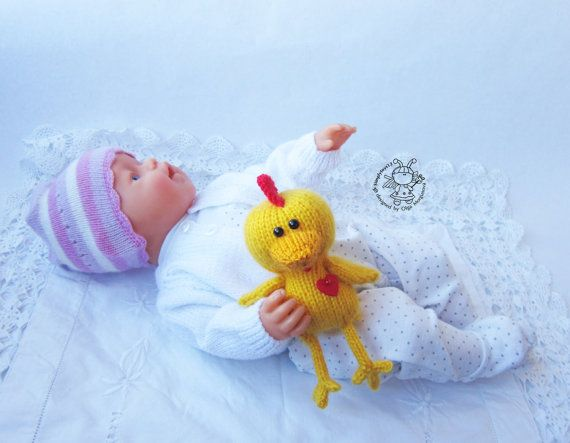 Toy for sleep. Chicken for small babies knitting by simplytoys13