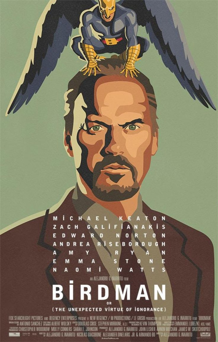 Birdman (2014)  A washed-up actor who once played an iconic superhero must overcome his ego and family trouble as he mounts a Broadway play in a bid to reclaim his past glory.   Director: Alejandro González Iñárritu  Writers: Alejandro González Iñárritu (screenplay), Nicolás Giacobone (screenplay) Stars: Michael Keaton, Zach Galifianakis, Edward Norton
