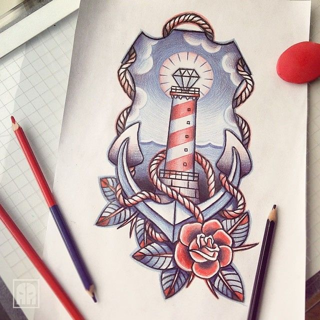 Red and blue nautical themed tattoo design. I might steal that rose if I didn't know better. Whoever got this rocks!