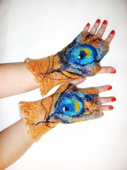 Felted  Gloves Mittens fingerless PEACOCK by SilkMagic on Etsy, $37.99