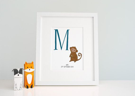 Custom Baby Monogram Wall Art - Baby Room Letter M - Monkey Print - Kids Room Decor - Zoo Alphabet Prints - Nursery Art - Playroom Animals  M is for Mischievous Monkey! Customise this lovely print with your little ones name, birthdate and/or a short message. The large letter and the monkey are hand drawn & digitally coloured, so colour changes are easy - if you have a different colour in mind than the one pictured, please ask!  I am working my way through the alphabet, so eventually I will…