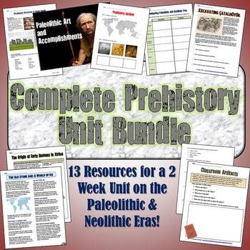 This fantastic download includes everything you need for an engaging unit on prehistory. It includes 14 total resources for teaching about early humans, artifacts and archaeology, the Paleolithic and Neolithic Eras, the first human settlements, cave art, and more.All of the following TpT resources are included in your download:1.
