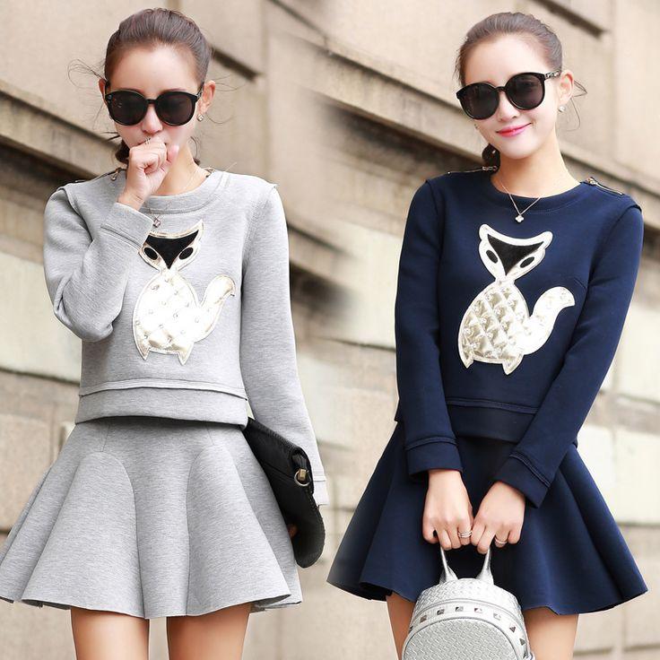 Neue 2016 Herbst Winter Frauen Blau Grau Elegante Rock Anzüge weiblichen Rock Anzüge 2 Stück Set Frauen Sweatshirt Und Mini rock