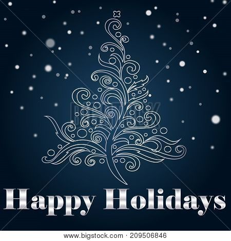 A holiday greeting card / background with a stylzed christmas tree and silver text. EPS and Jpg files