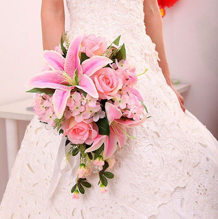 New arrival Pink/Ivory Lily Silk Wedding Bouquets/Bridal Bouquets on AliExpress.com. $33.00