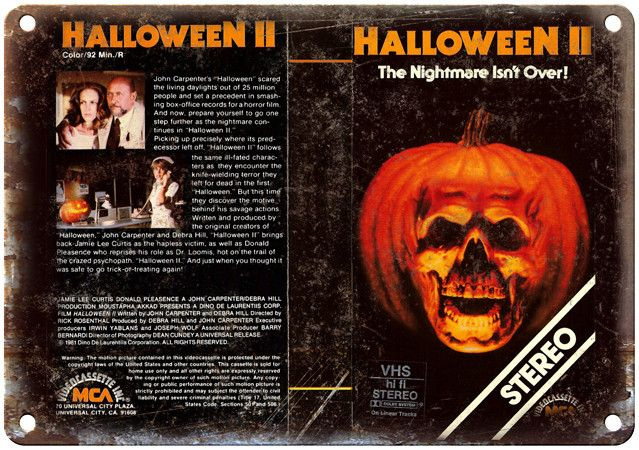 """1981 Halloween II VHS Cover 10"""" x 7"""" Reproduction Metal Sign"""