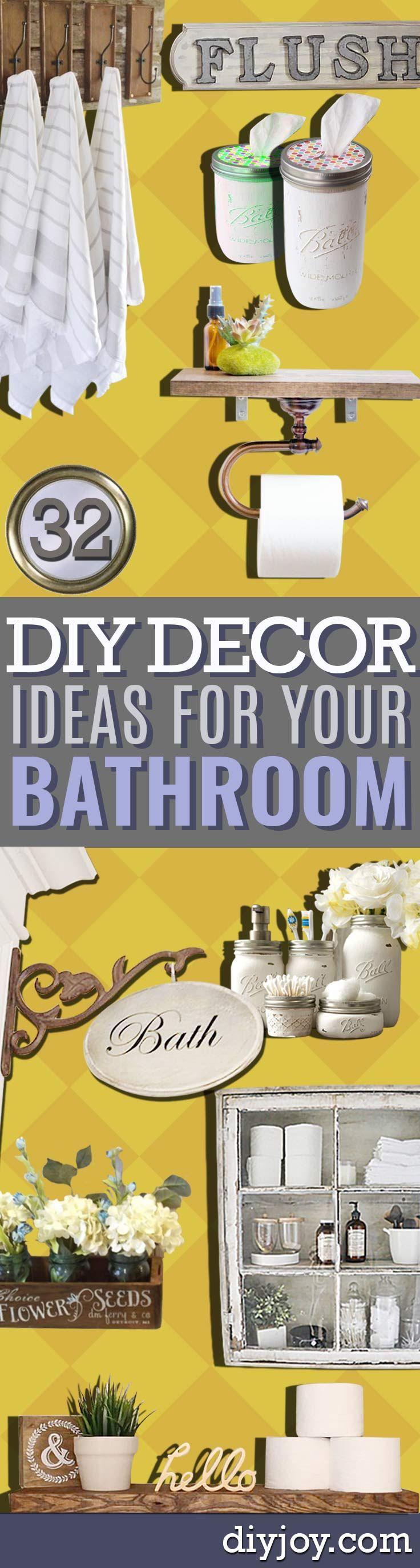 DIY Bathroom Decor Ideas -  Cool Do It Yourself Bath Ideas on A Budget, Rustic Bathroom Fixtures, Creative Wall Art, Rugs, Mason Jar Accessories and Easy Projects http://diyjoy.com/diy-bathroom-decor-ideas