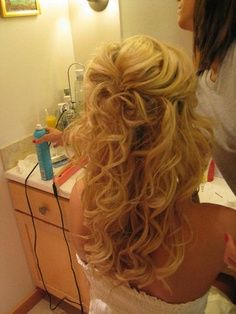 love the curls and the way it's pulled back   best from pinterest