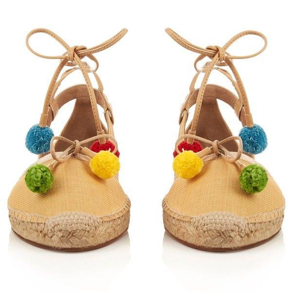 Aquazzura Palm Beach Pon Pon raffia espadrilles (3 635 ZAR) ❤ liked on Polyvore featuring shoes, sandals, ankle tie sandals, ankle tie espadrilles, striped espadrilles, ankle strap shoes and palm beach sandals