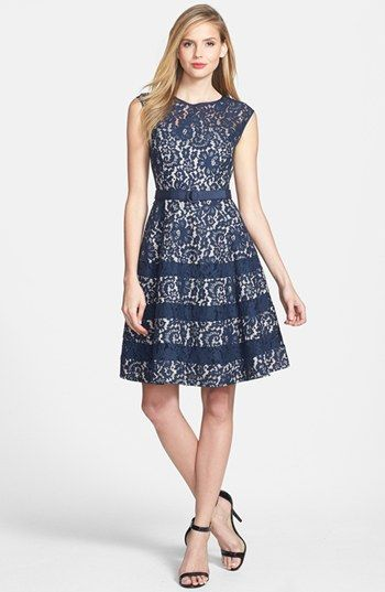 Blue Lace Dress - with subtle stripes
