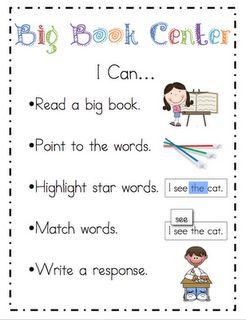 Kindergarten: I can... center labels (Freebie)