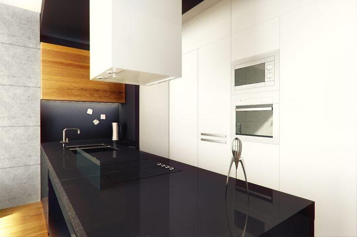 Projekt wnętrza kuchni w stylu minimalistycznym - Tissu. Nowoczesna kuchnia biel, czerń i drewno. Bez ozdobnych dodatków. http://www.tissu.com.pl/zdjecia/300