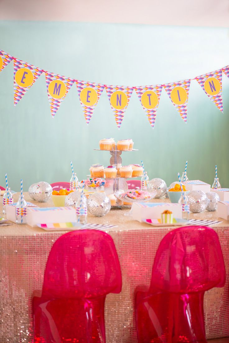 Personalised Geometric Disco Themed Party Bunting from Love JK, Party Furniture from Mini Party Peope and Disco Party Food