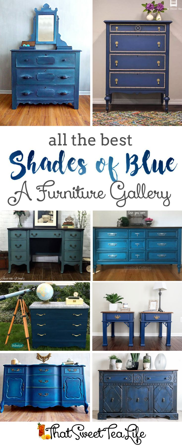 All the Best Blue Furniture Painted by top painters | A collection by That Sweet Tea Life | Blue Painted Furniture Ideas | Teal Furniture | Turquoise Furniture | Navy Furniture | How to Paint Furniture | Shades of Blue | Blue Chalk Paint Furniture Makeovers