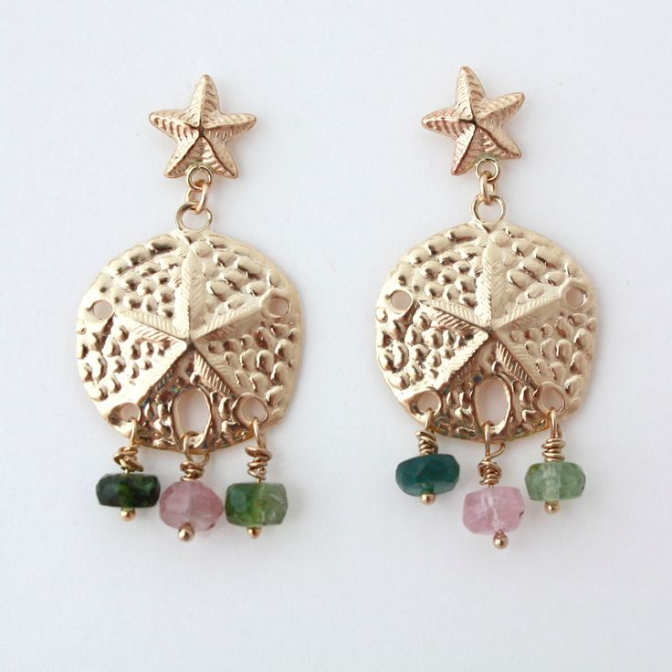Tallulah. Pale Gold filled delicate sand dollar and starfish charm earrings with tourmaline roundel bead embellishments by Silver Laurel Jewellery Etsy