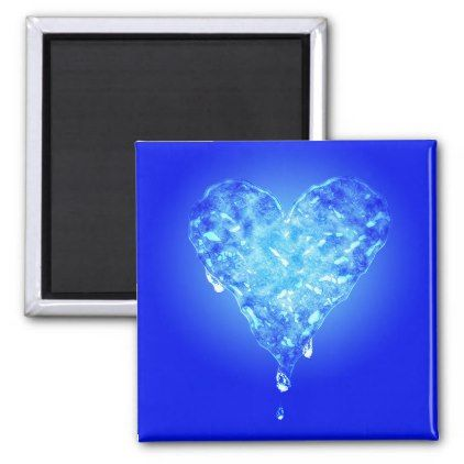 Ice Heart - Blue Magnet - heart gifts love hearts special diy