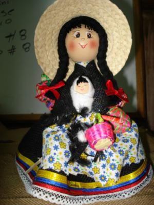 canastera muñeca madera,yute,laso torno,tejido