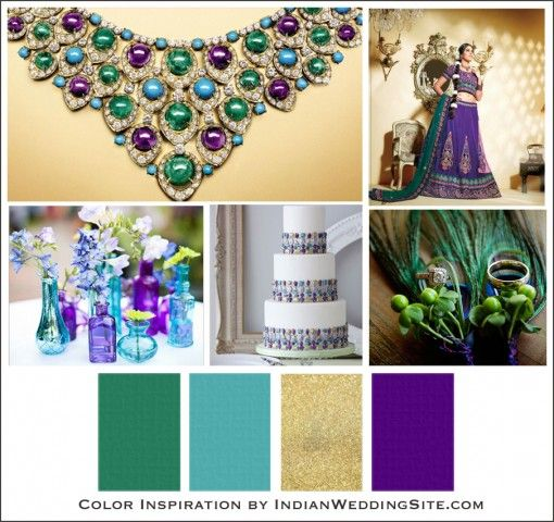 Turquoise, Emerald and Amethyst - Indian Wedding Color Inspiration - Indian…