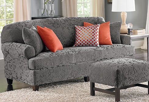 Stretch Jacquard Damask Slipcovers Gray Is The New