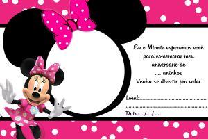 Convite com moldura para foto Minnie Pink