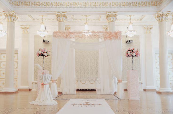 Wedding aisle, coral and crystal wedding